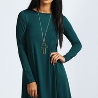 April Scoop Neck Long Sleeve Swing Dress