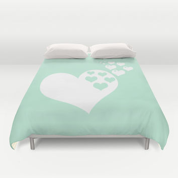 Mint White Hearts of Love Duvet Cover by BeautifulHomes
