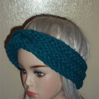 Hand Knit Headband Turban Blue