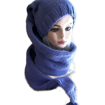 Knit Hat Women With Attached Scarf Purple