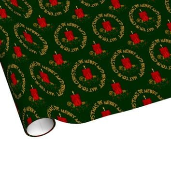 Merry and Bright Red Christmas Candle Gift Wrap
