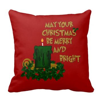Merry and Bright Christmas Candle Pillow Style 2