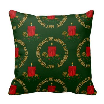 Merry and Bright Christmas Candle Pillow Style 4