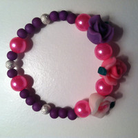 Purple & Pink Beaded Flower Bracelet