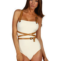 MICHAEL Michael Kors Michael Kors Collection Wrap Around Belted Maillot