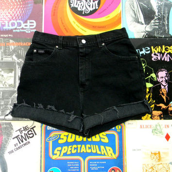 High Waisted Denim Shorts - 90s Black Stretch Jean Shorts - High Waist, Frayed, Rolled Up, Cuffed Denim Shorts by Riders Misses Size 10 M