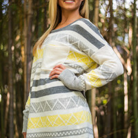 Hold On Sweater, Yellow/Grey