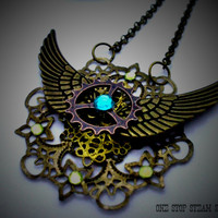 Unique Steampunk Fantasy Pendant Necklace with Antique Bronze Angel Wings, Steampunk Jewellery
