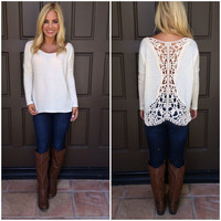 Tangled Web Lace Detailed Top - CREAM