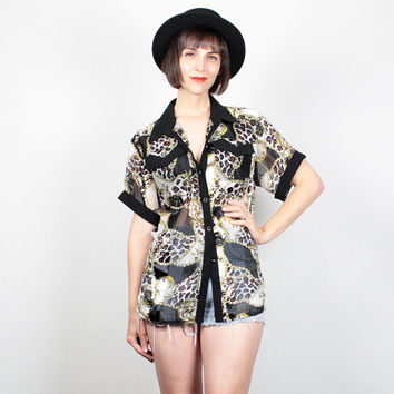Vintage 80s Shirt Black White Gold Leopard Print Baroque SHEER Blouse 1980s Top Button Down New Wave Collared Shirt Mod M Medium L Large