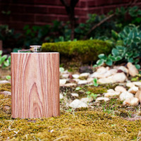Oak Woodgrain Stainless Steel Hip Flask