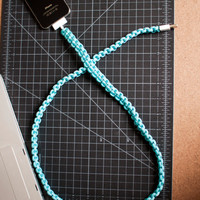 Turquoise iPhone Paracord Cable