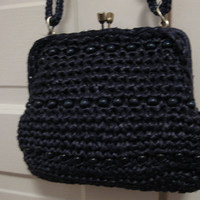 Vintage Blue Straw and beaded Spring purse. Clamshell Closure
