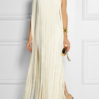 Temperley London - Long Tassel fringed silk-crepe gown
