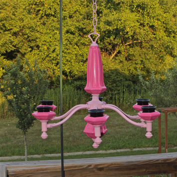 Bright Pink and Black Candelabra/ Outdoor Chandelier Decor /Shabby Chic Patio/ Relaxing & Romantic Candlelight