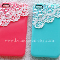 lace iphone 4 case, iphone 4s case, white lace and pearl trim hot pink Hard Case for Apple iPhone 4, iPhone 4s, iPhone 4 Hard Case