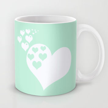 Mint White Hearts of Love Mug by BeautifulHomes