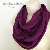 Infinity Scarf Plum Purple Eggplant Aubergine Jersey