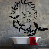 Vampire bats spiral formation vinyl wall decal, home decor, housewares, wall art