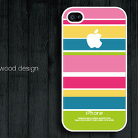 Handmmade unique iphone 4 cases iphone 4s case iphone 4 cover colorized line red blue yellow colors design