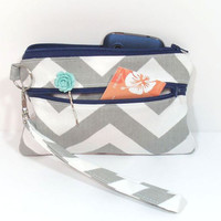 Gray Navy Wristlet, Gray Chevron Clutch, Clutch with Strap, Cell Phone Wallet, Clutch for Phone, Zipper Clutch, Clutch for School, Clutch