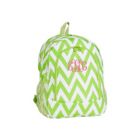 ON SALE- Lime Green and White Chevron Print 17 Inch Backpack With Free Monogramming