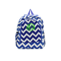 ON SALE- Royal Blue and White Chevron Print 17 Inch Backpack With Free Monogramming
