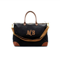 ON SALE- Black Personalized Longchamp Inspired Extra Large Carry On Weekender Travel Bag With Free Monogramming