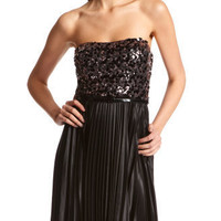Sequin-Top Pleated Party Dress