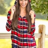 Morning Through The Pines Plaid Blouse-Cranberry