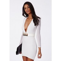 Missguided - Fearne Mesh Sleeve Ribbed Plunge Dress White
