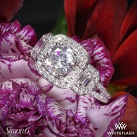 18k White Gold Simon G TR446 Three Stone Passion Halo Diamond Engagement Ring