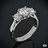 "18k White Gold ""Trellis"" 3 Stone Engagement Ring **Setting Only**"