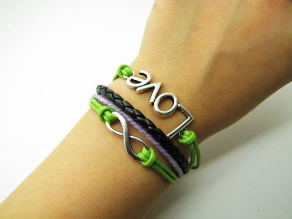 Green Rope and Black Leather Steampunk Bracelet antique silver karma love  bracelet,Infinity Wish Love Bracelet Adjustable Bracelet 908S