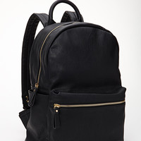 FOREVER 21 Classic Faux Leather Backpack Black One