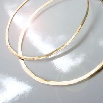 Large Hammered Gold Hoop Earrings Fits Traditional Piercings