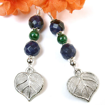 Pewter Leaf Earrings Blue Sodalite Green Malachite Handmade Jewelry