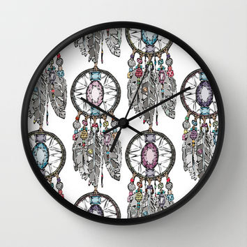 gemstone dreamcatcher Wall Clock by Sharon Turner | Society6