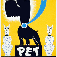 Vintage Poster Reprint Pet Show 8x11.5 Reproduction on Popmount Ready to Hang