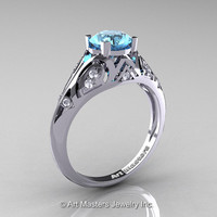 Classic Armenian 14K White Gold 1.0 Ct Swiss Blue Topaz Diamond Engagement Ring R477-14KWGDSBT