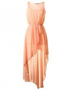 LOVE Peach Chiffon Asymmetrical Maxi Dress - Love