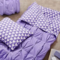 Pintuck Sleeping Bag + Pillowcase, Purple Sweethearts