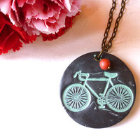 Bike Necklace - I Heart Bike - Bicycle Necklace - Vintage Bike
