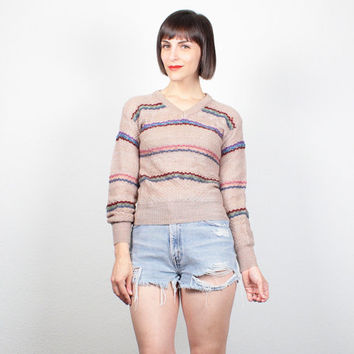 Vintage 1970s Sweater Oatmeal Tan Striped 70s Jumper Skinny Fit V Neck Boho Beige Textured Pullover Hippie Sweater Mod Knit XS S Extra Small