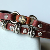 Hand-woven fashion brown genuine leather bracelet with multiple beads BY43