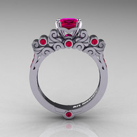 Classic Armenian 950 Platinum 1.0 Ct Princess Rose Rubies Solitaire Wedding Ring R608-PLATRR