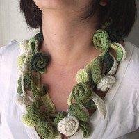 Hand Crochet Rose  Lariat spring scarf  Crochet flower scarf  Crochet Scarf - Womens scarf - Spring  accessories-  Spring fashion Gift
