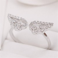 Setting of AAA Quality White Clear CZ Stones Angel Wings Pave Slim Arm Ring Gold Plated Gift for Her Promise Ring Engagement Ring Anniversary Ring Chic Ring Party Ring Must Have Ring ADP 0704
