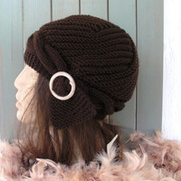 Hand Knit  hat-  Slouchy Beanie Victorian  Brown Hat with Buckle Cloche  Winter Accessories    womens hat  Fall  Autumn Fashion   gift