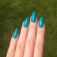 Matte Blue Stiletto nails, Nail designs, Nail art, Nails, Stiletto nails, Acrylic nails, Pointy nails, Fake nails